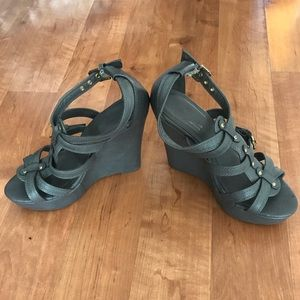 Sbicca Shoes - Grey wedges Sz 6